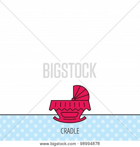 Baby cradle bed icon. Crib or cot sign.