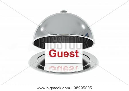 Silver Cloche With White Sign Guest