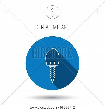 Dental implant icon. Oral prosthesis sign.