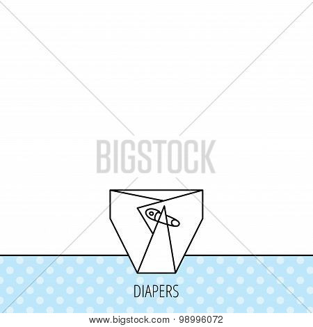 Diaper with pin icon. Child underwear sign.