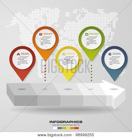 Abstract navigation point on arrow shape. Divide 5 steps level. Infographics element.