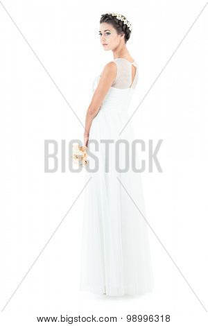 the bride in a wedding dress on a white background