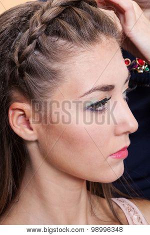 beautiful braid in a beauty salon