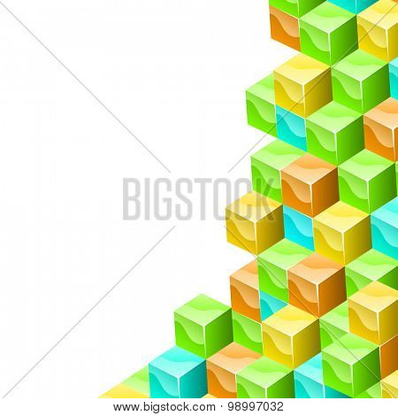 Colorful cubes 3D background with white copy space.