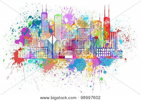 Chicago City Skyline Paint Splatter Color Illustration