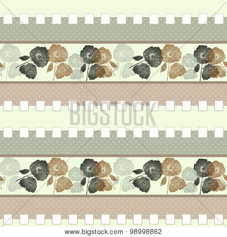 Patchwork Retro Beige Colors Poppy Floral Textile Pattern Background