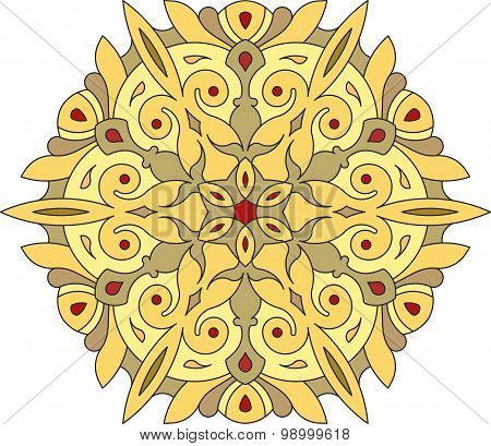 Abstract Vector Colorful Round Lace Design In Mono Line Style - Mandala, Decorative Element In Yello