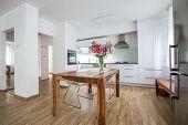 Modern Kitchen Interior Design Architecture Stock Image, Photo of a modern white kitchen with a dark poster