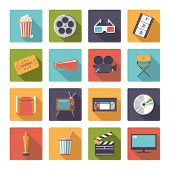 Square movie and cinema icons vector set.. Collection of 16 flat design cinema and movie themed vect poster