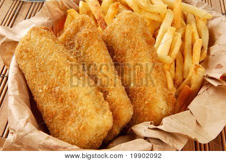 Breaded Fish Sticks And French Fries