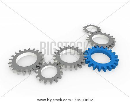 3D Gear Blue Steel Chrom