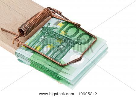 Euro bank notes in a mousetrap.
