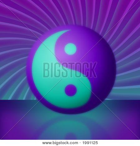 Purple & Teal Yin Yang Swirling Vortex