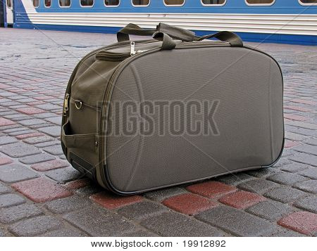 Carryall Standing On Platform In Front Of Train