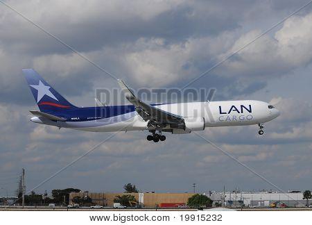 Lan Cargo Jet Landing At Miami International