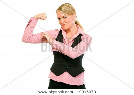Cheerful modern business woman showing her muscles isolated on white