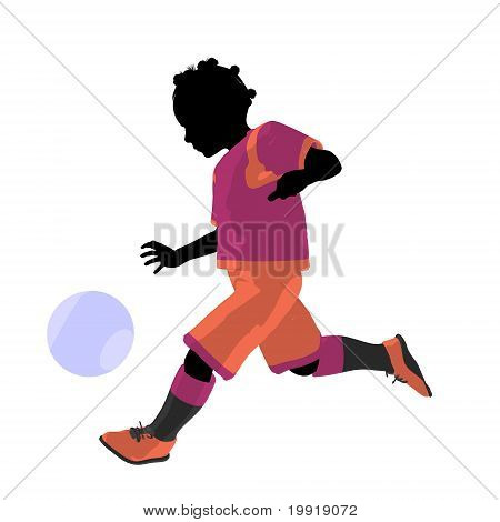 African American Female Tween Soccer Player Illustration Silhouette