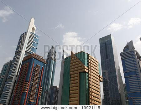 Dubai, Uae - 2/11/2011: Skyscraper Buildings Downtown In Dubai