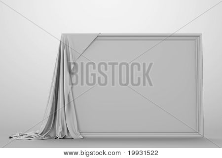Empty picture covered with a cloth.