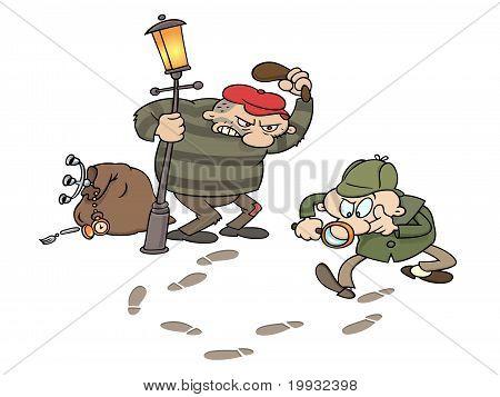 Sherlock tracing a burglar