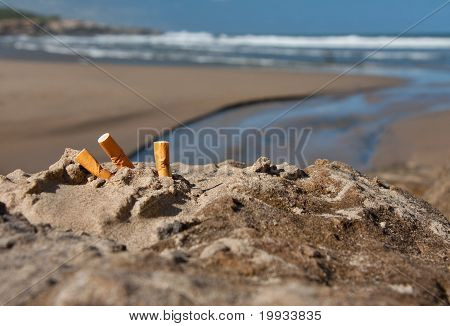 Beach Sun And Three Cigarette Butts
