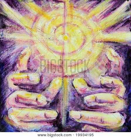Sonnenstrahlen Reiki heilende Hände malen