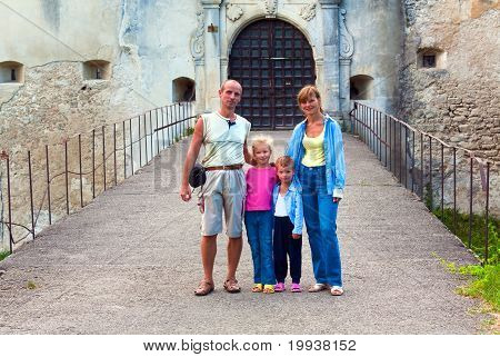 Evening Svirzh  (ukraine) Castle Entrance Gate And Family Near.