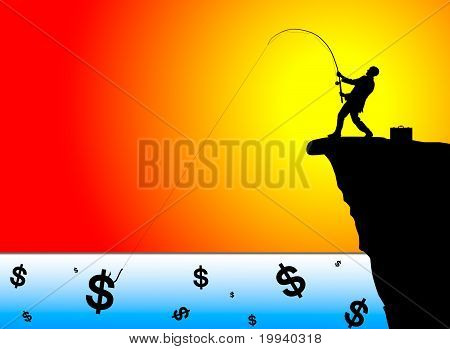 Silhouette Of Businessman Fishing For Money