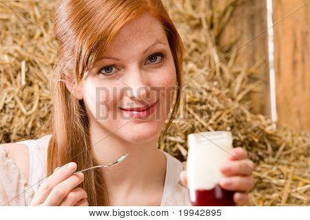 Young Healthy Woman Enjoy Natural Yogurt Country