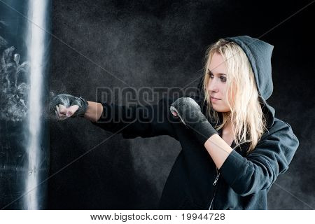 Blond Boxing Woman