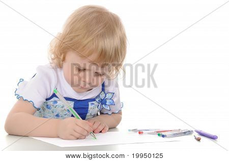 Little Girl Drawing