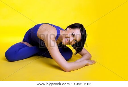 happy woman prepare for yoga training