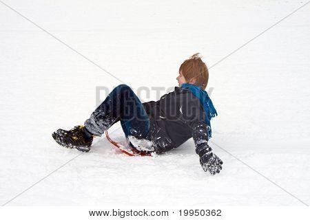 Children Are Sledding Down The Hill In Snow, White Winter