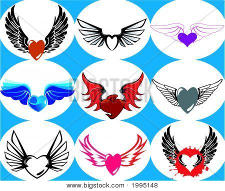 026Wingedheart9.Epsnine Brand New Hearts On The Wings. Vector Illustration.