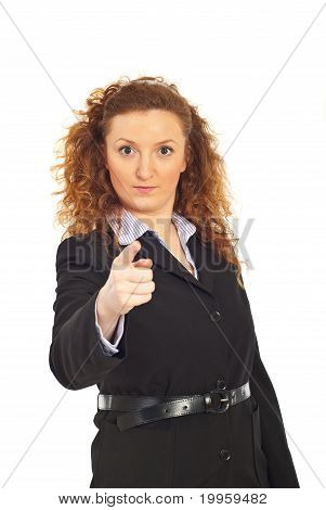 Serious Executive Woman Accusing You