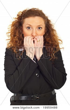 Stressed Business Woman Biting Nails