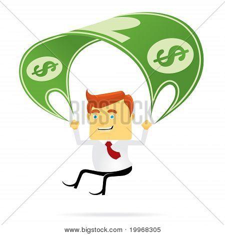 Parachuting Businessman