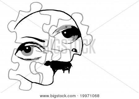 Funky Cubist Face Design