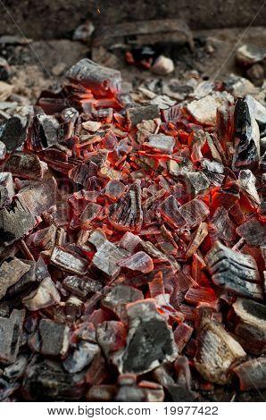 Hot Coals In A Grill. Closeup
