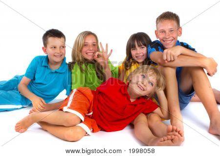 Children Having Fun In Studio