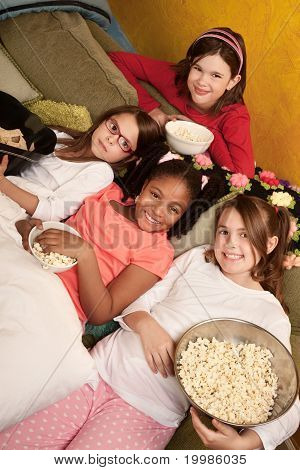 Kids Eating Popcorn