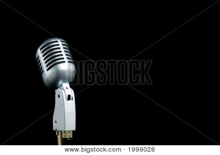 Vintage Microphone On Black