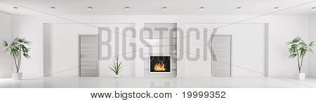 Modern White Interior Panorama 3D Render