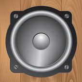 foto of vibration plate  - Loud speaker on wood grain texture background - JPG