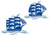 image of pirate ship  - Sail ship in ocean water for travel or another design - JPG