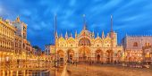 Square Of The Holy Mark (piazza San Marco) And St. Marks Cathedral (basilica Di San Marco) At The N poster
