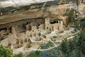 pic of cortez  - Cliff Palace one of the most spectacular ancient cliffside villages of the ancient Anasazi people on the mesa top at Mesa Verde National Park near Cortez Colorado - JPG