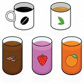 image of milk glass  - Cartoon illustration showing different hot and cold breakfast beverages - JPG
