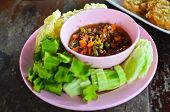 Thai Style Spicy Dipping Sauce And Vegetables poster