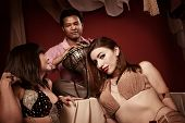 pic of belly-band  - Two gorgeous belly dancers with handsome Indian dummer - JPG